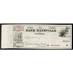 Bank of Dansville, Specimen Check.