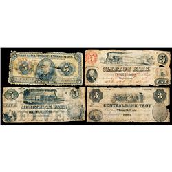 Central Bank of Troy, $3 Santa Claus Vignette Obsolete Banknote Plus 3 Additional Notes.