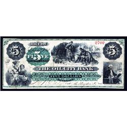 Oil City Bank Obsolete Banknote.