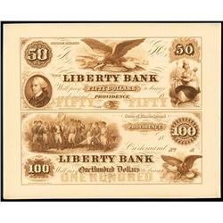 Liberty Bank Obsolete Proof Sheet.