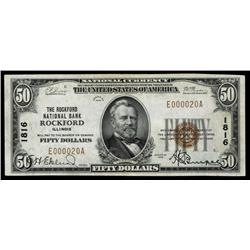 Rockford National Bank, Rockford, IL, $50 Type I, Ch# 1816, S/N E000020A.