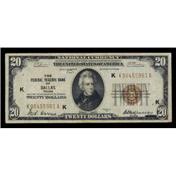 $20 1929 Federal Reserve Bank Note Dallas, Fr#1870-K (KA Block).