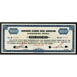 Harrisburg Clearing House Association 1933 Depression Scrip Specimen.