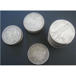 Assortment of 19 Morgan & 6 Peace Dollars, Circulated.