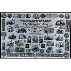 William W. Wilson Engraving and Printing Advertising Vignette Sheet.