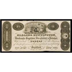Eleazer Huntington Banknote Engravers Advertising Banknote.