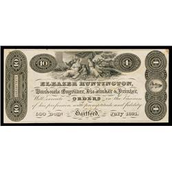 Eleazer Huntington, 1821 Banknote Engravers Advertising Banknote Proof.
