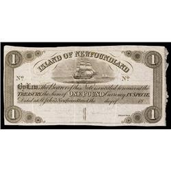 Island of Newfoundland Specimen or Remainder Banknote.