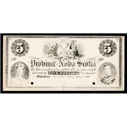 Province of Nova Scotia Proof Banknote.