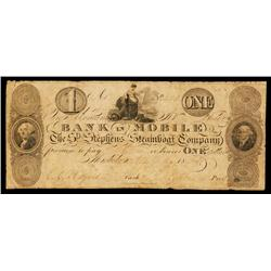 Bank of Mobile, St.Stephens Steamboat Company Obsolete Banknote.