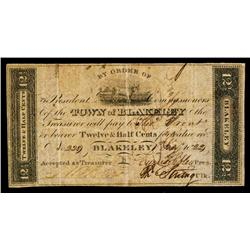 Town of Blakeley, 1822 Issued Obsolete Scrip Note.