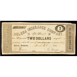 Helena Insurance Company, 1862 Obsolete Banknote.