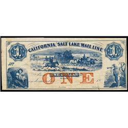 California and Salt Lake Mail Line Obsolete Banknote.