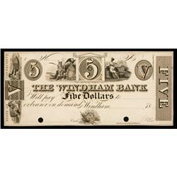 Windham Bank ca.1830's Obsolete Proof.