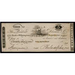 Bank of Wilmington and Brandywine ca.1830's Obsolete Proof.
