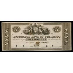Insurance Bank of Columbus ca.1830's Obsolete Proof.