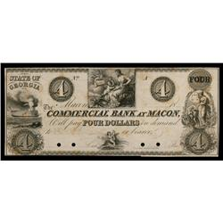 Commercial Bank at Macon, $4 Note, ca.1830's Obsolete Proof.