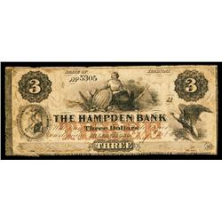 Hampden Bank Obsolete Banknote.