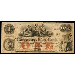 Mississippi River Bank Obsolete Banknote.