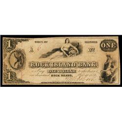 Rock Island Bank Obsolete Banknote.