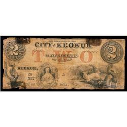 City of Keokuk Obsolete Banknote.
