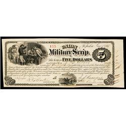 Union Military Scrip Obsolete Banknote.