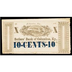 Sutlers' Bank of Columbus, Ky. Obsolete Scrip Note.