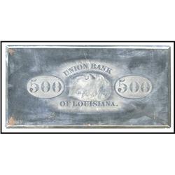 Union Bank of Louisiana $500 Back Printing Plate.