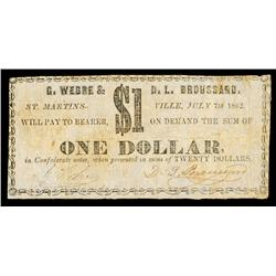 G.Webre & D.L. Broussard Obsolete Banknote.