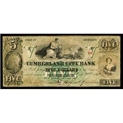 Cumberland City Bank Obsolete Banknote.