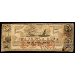 Boston Bank Obsolete Banknote.