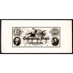 Columbian Bank, ca.1830's Obsolete Proof.