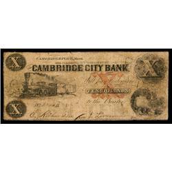 Cambridge City Bank Obsolete Banknote.