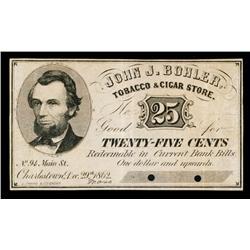 John J. Bohler Tobacco & Cigar Store Obsolete Scrip Note.