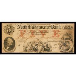 North Bridgewater Bank Obsolete Banknote.