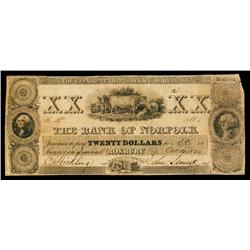 Bank of Norfolk Obsolete Banknote.
