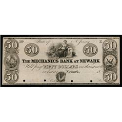 Mechanics Bank at Newark ca.1820-30's Obsolete Proof.
