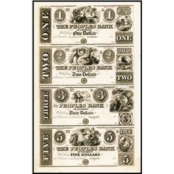 Peoples Bank of Paterson, ca.1830's Uncut Obsolete Proof Sheet of 4.