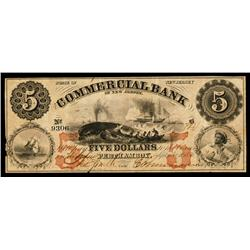 Commercial Bank of New Jersey Obsolete Banknote.