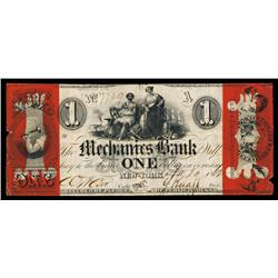 Mechanics Bank in the City of New York Obsolete Banknote.