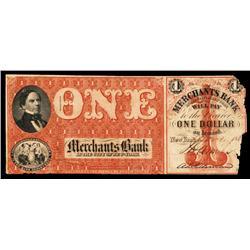 Merchants Bank Obsolete Banknote.