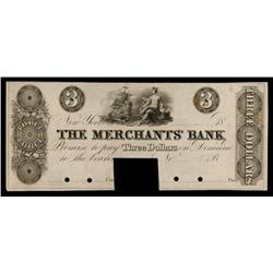 Merchant's Bank ca.1830's Obsolete Proof.