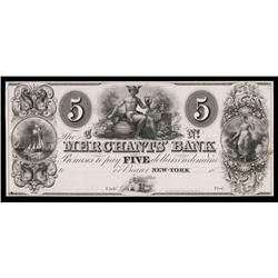 Merchants' Bank, ca.1830's Obsolete Proof.