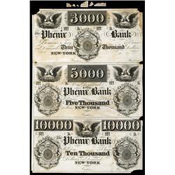 Phenix Bank $3000-$5000-$10,000 Denomination, ca.1830's Obsolete Proof Sheet.