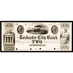 Rochester City Bank, 1839 Obsolete Proof.