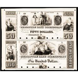 Mercantile Bank of Schenectady, ca.1830's Uncut Obsolete Proof Sheet.