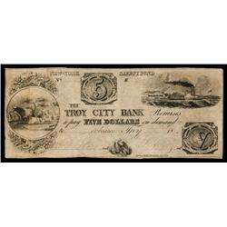 Troy City Bank Obsolete Banknote.