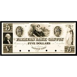 Farmers Bank of Canton, ca.1830's Obsolete Proof.