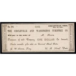 Circleville and Washington Turnpike Co. Obsolete Banknote.