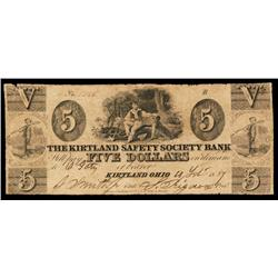 Kirtland Safety Society Bank Obsolete Banknote.